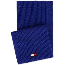 Tommy Hilfiger Mens Logo Patch Scarf, Blue, Long (60 in. And Up)