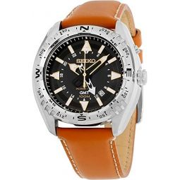 Seiko SUN055 Mens X Prospex Stainless Steel Orange Leather Strap Band Black Dial Watch