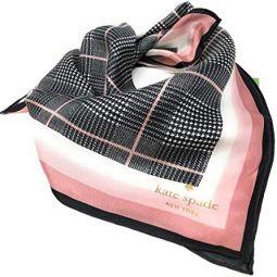 Kate Spade New York 100% Silk Plaid Pink Black Bandana Scarf
