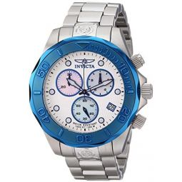 Invicta Mens 11449 Pro Diver Chronograph Silver Textured Dial Stainless Steel Watch