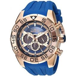 Invicta Mens Speedway Stainless Steel Quartz Watch with Silicone Strap, Blue, 32.65 (Model: 26305)