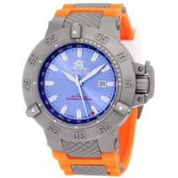 Invicta Mens 1591 Subaqua Noma III Blue Dial Orange Polyurethane Watch