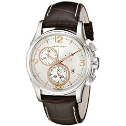 Hamilton Mens H32612555 Jazzmaster Chronograph Silver Dial Watch