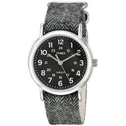 Timex Unisex TW2P72000 Weekender 38mm Black Tweed Fabric Slip-Thru Strap Watch