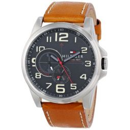 Tommy Hilfiger Mens 1791004 Stainless Steel Watch with Tan Leather Band