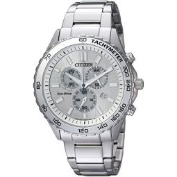 Citizen Mens Quartz Stainless Steel Casual Watch, Color:Silver-Toned (Model: AT2129-58A): Clothing