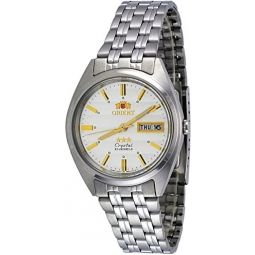 Orient #FAB0000DW Mens 3 Star Stainless Steel Silver Dial Day Date Automatic Watch