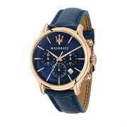 MASERATI Mens Epoca Quartz Stainless Steel and Leather Fashion Watch, Color:Blue (Model: R8871618007