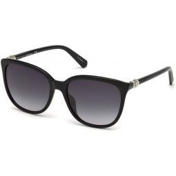 Swarovski Womens Sk0146-h SK0146-H Square Sunglasses, Black, 56 mm