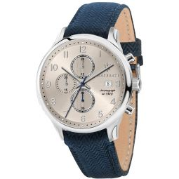MASERATI Mens Gentleman Stainless Steel Quartz Leather Calfskin Strap, Blue, 20 Casual Watch (Model: R8871636004)