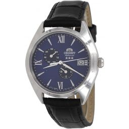 Orient RA-AK0507L Mens Tri Star Altair Leather Band Multifunction Blue Dial Automatic Watch