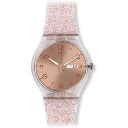 Swatch Unisex Pink Glistar Watch with Sparkling Band SUOK703