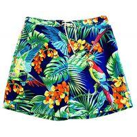 Ralph Lauren Polo BT Mens Tropical Board Shorts, Blue with Parrots
