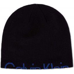 Calvin Klein Mens Hidden Logo Knit Beanie Hat Black O/S