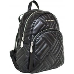 Michael Kors Abbey Leather Quilted Backpack Tote - Black