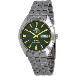 Orient RA-AB0E07E Mens 3 Star Stainless Steel Green Dial Day Date Automatic Watch