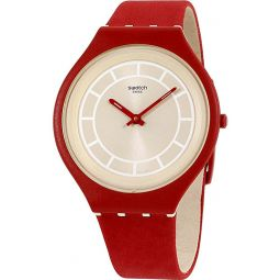 Swatch Skin Skinhot Beige Dial Leather Strap Unisex Watch SVUR100