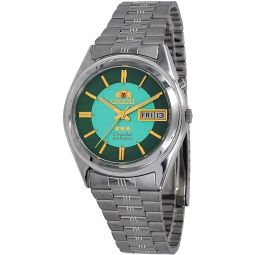 Orient FEM6Q00DN Mens 3 Star Stainless Steel Dual Green Dial Day Date Automatic Watch