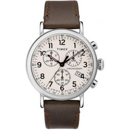 Timex Standard Chronograph Beige Dial Canvas Strap Mens Watch TW2T21000