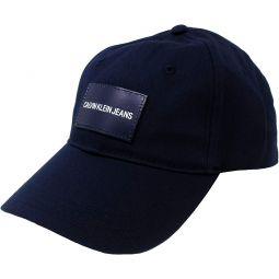 Calvin Klein Jeans Mens Leather Patch Logo Baseball Dad Hat