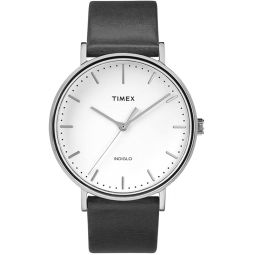 Timex Fairfield Unisex Watch TW2R26300 Black Leather White Dial