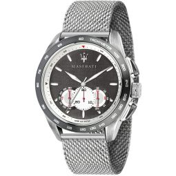 MASERATI Mens TRAGUARDO Quartz Stainless-Steel Strap, Silver, 22 Casual Watch (Model: R8873612008)
