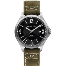 Hamilton Aviation Black Dial SS Olive Leather Automatic Mens Watch H76665835
