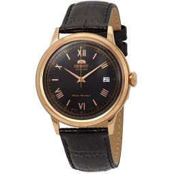 Orient FAC00006B Mens Bambino Version 2 Leather Band Rose Gold Tone Black Dial Automatic Watch