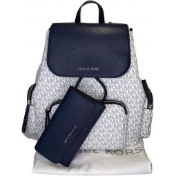 MICHAEL Michael Kors Abbey Large Cargo Backpack bundled with Michael Kors Jet Set Travel Trifold Wallet (Signature MK Navy)