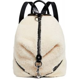 Rebecca Minkoff Womens Shearling Julian Side Zip Backpack, Natural, Off White, One Size