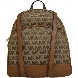 Michael Kors Abbey Medium Jaqcuard Leather Backpack Beige Ebony Luggage