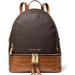 MICHAEL Michael Kors Rhea Zip Medium Backpack (Brown/Croc)