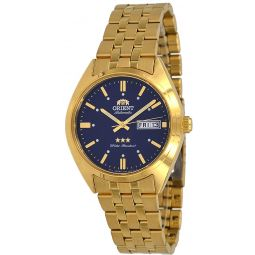 Orient RA-AB0E03L Mens 3 Star Gold Tone Stainless Steel Blue Dial Day Date Automatic Watch