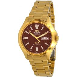 Orient RA-AB0F04R Mens Gold Tone Stainless Steel 3 Star Maroon Dial Luminous Index Day Date Automatic Watch