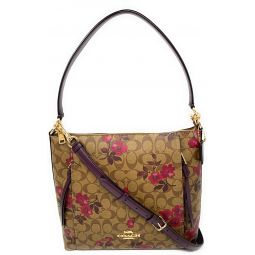 COACH WOMENS MARLON HOBO IN SIGNATURE CANVAS WITH VICTORIAN FLORAL PRINT F84729 KHAKI BERRY MULTI