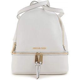 MICHAEL Michael Kors Rhea Zip Medium Leather Backpack, Optic White