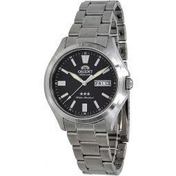 Orient RA-AB0F07B Mens Stainless Steel 3 Star Black Dial Luminous Index Day Date Automatic Watch