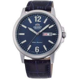 Orient RA-AA0C05L Mens Commuter Blue Leather Band Blue Dial Day Date Automatic Watch