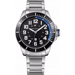 Tommy Hilfiger Three-Hand Silver-Tone Stainless Steel Mens watch #1791074