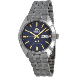 Orient RA-AB0E08L Mens 3 Star Stainless Steel Blue Dial Day Date Automatic Watch