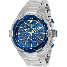 Invicta Mens Aviator Quartz Watch with Stainless Steel Strap, Silver, 26 (Model: 28111)