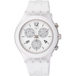 Swatch Elesilver White Dial Mens Chronograph Silicone Watch SVCK1007