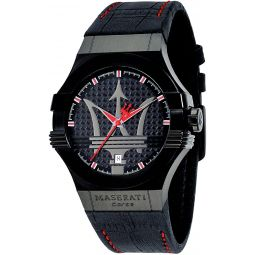 Maserati watch R8851108010 Mens Skin Black and Red