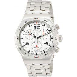 Swatch Mens Silver Again YVS447G Stainless-Steel Swiss Quartz Fashion Watch