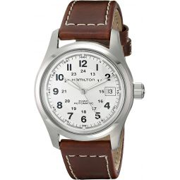 Hamilton Mens HML-H70455553 Khaki Field Stainless Steel Automatic Watch with Brown Leather Band