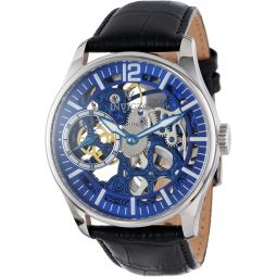 Invicta Mens 12404 Vintage Mechanical Blue Dial Black Leather Watch