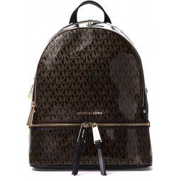 Michael Kors Rhea Medium Leather Backpack (Glossy Brown)