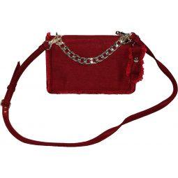 Nine West Fringe Flap Clutch Purse With Optional Shoulder Strap (Ruby Red)