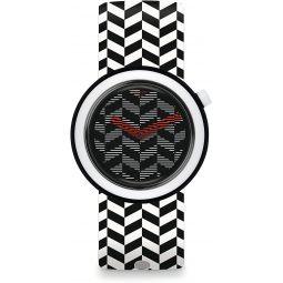Swatch Mens Originals PNB104 Black Rubber Analog Quartz Fashion Watch