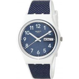 Swatch Essentials Swiss Quartz bimaterial Strap, White, 16 Casual Watch (Model: GW715)